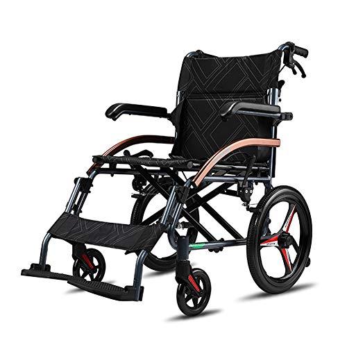ZXGQF Silla de ruedas plegable de tránsito, reposapiés y reposabrazos extraíbles, freno en manetas, para ancianos y minuválidos, asiento de 47 cm (S)