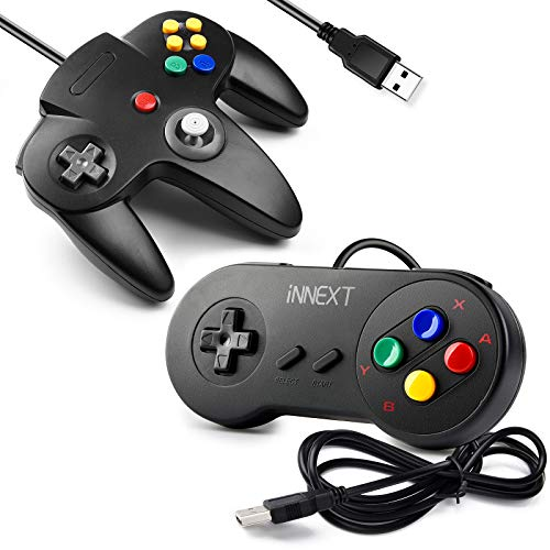[USB Version] 2 Pack USB Classic Controller, iNNEXT USB N64 & SNES Controller Joystick for Windows PC MAC Linux Raspberry Pi 3 Sega Genesis Higan (Black)