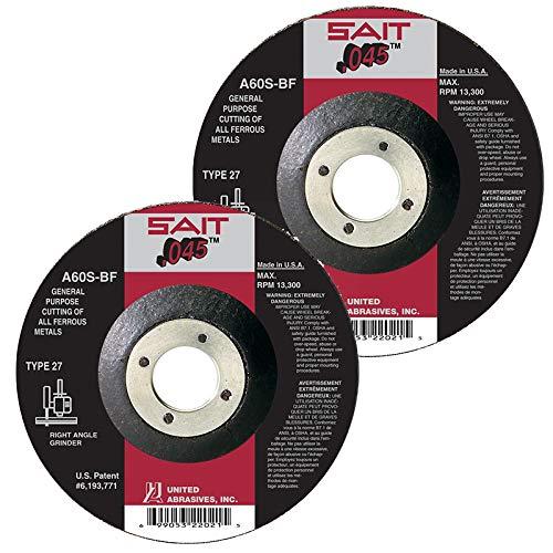 SAIT Abrasive Cut Off Wheels A60S Type 27 (42) Grinder Cutting Wheel 6 inch x 7/8 inch Arbor QTY 10
