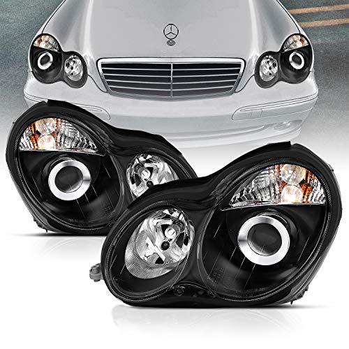 AmeriLite Projector Headlights Black For Mercedes-Benz C Class W203 - Passenger and Driver Side