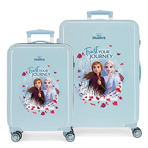 Disney Frozen Die Eiskönigin Trust your journey Kofferset Blau 55/64 cms Hartschalen ABS Kombinationsschloss 93L 4 Doppelräder Handgepäck