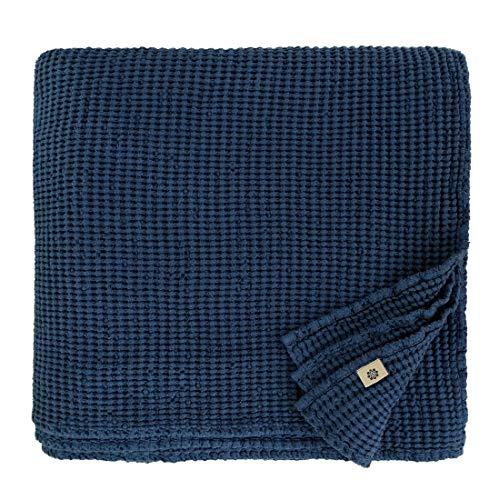 Linen & Cotton Coperta Plaid Copriletto Waffel in Misto Tessuto Enzo - 48% Lino, 52% Cotone, Colore Blu Scuro (210 x 250 cm) Copridivano Trapunta Estivo Inverno per Letto Divano Singolo Matrimoniale