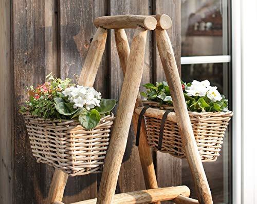 Dekoleidenschaft Balkon Pflanzkasten Klein, aus Rattan, Blumenkasten mit Halterung