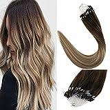 [Grande Promotion] LaaVoo Micro Loop Extensions de Cheveux Humains #3/8/22 Brun Foncé à Brun Cendré et Blond Moyen Micro Ring Brazilian Hair Extension (50G/50S, 22 Pouce)