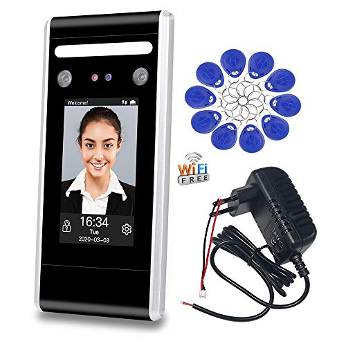 LIBO WiFi Dynamic Facial Access Controller Time Attendance Machine Biometric IR Face Recognition Employee Check-in/Out TCP/IP Network USB Download/Upload with 125KHz/13.56MHz RFID Key fobs (DT60-WK)