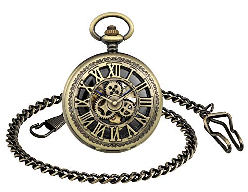 Unendlich U- Retro Reloj de Bolsillo para Hombres y Mujeres Lupa Engranaje Especial Punky Hueco Mecánico Deportivo Reloj de Bolsillo con Cadena