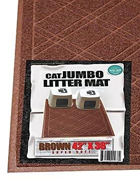 iPrimio - Cat Litter Mat with Plaid Design - Phthalate & BPP Free - Jumbo  42 x 35   - Brown