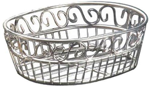 "American Metalcraft SSOC97 6-3/4"" x 9"" Oval Stainless Steel Scroll Bread Basket"