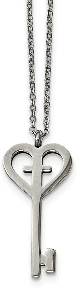 Solid Stainless Steel Key with Cross Pendant Necklace Charm Chain - with Secure Lobster Lock Clasp 16