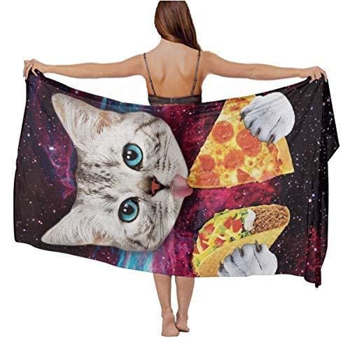 Women Girl Fashion Travel Shawl Wrap Summer Vacation Beach Towels Chiffon Scarf Bikini Beachwear Sarong Wrap Swimwear Cover Up (Galaxy Space Kitten Cat Eat Taco Pizza)