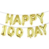 Alphabet Letters Foil Balloons Set Happy 100 Day banner Baby shower birthday Party Decoration Supplies (Gold)