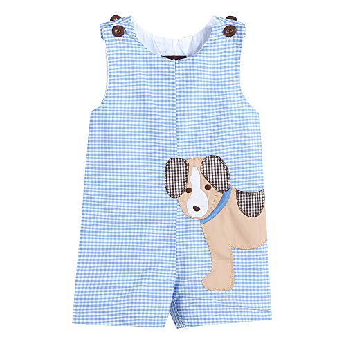 Lil Cactus Baby & Toddler Boys Embroidered One-Piece Shortall Romper, Blue Gingham Puppy, 18-24 Months