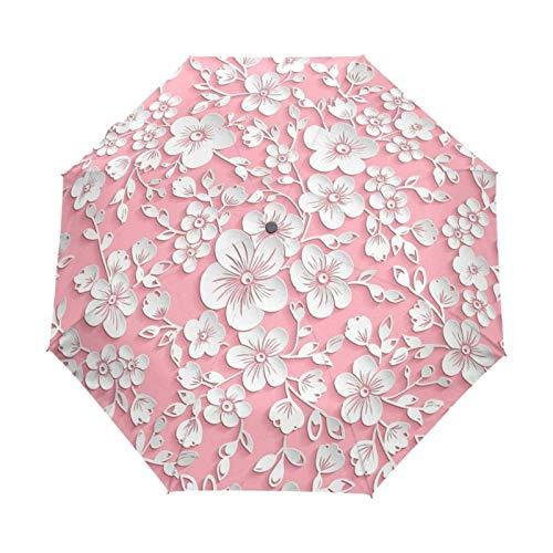 N-B Completo Automatic3 D Floral Guarda Chuva Blanco Chino Sun Umbrella3 paraguas plegable lluvia mujeres anti U V viajes al aire libre