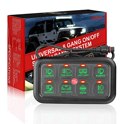 8 Gang Switch Panel Kit, Auto Power Plus Circuit Control Box Electronic Relay System Universal ON/Off Touch Switch Box with Harness and Label Stickers for Truck ATV UTV Boat Marine