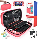 Carrying Case for Nintendo Switch Lite, Hard Case with 2 Pack Screen Protector, 6 Pcs Thumb Grip and 20 Game Cartridges, Protective Case for Nintendo Switch Lite Console & Accessories, Pink