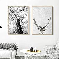 """キャンバスアートペインティングモダンウォールアートグレーホワイトツリーキャンバスペインティング鹿動物ポスターとプリント写真リビングルームの装飾用30x50cm / 11.8""""x19.7"""" X2 フレームなし"""