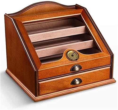 SGSG Humidor per sigari Desktop Humidor Igrometro: Contiene 80-100 sigari, igrometro, deumidificatore, Contenitore per partizioni di scatole di sigari