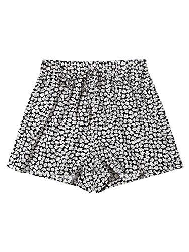 SweatyRocks Women's Ditsy Floral Print Elastic Waist Tie Front Summer Beach Shorts Black and White M