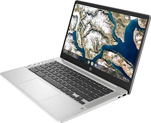 Product Image 1: 2021 Newest HP Chromebook 14-inch FHD Laptop, Intel Celeron N4000 up to 2.6 GHz, 4 GB DDR4 SDRAM, 32 GB eMMC Storage, Webcam, WiFi 5, Bluetooth 5, Chrome OS + Oydisen Cloth