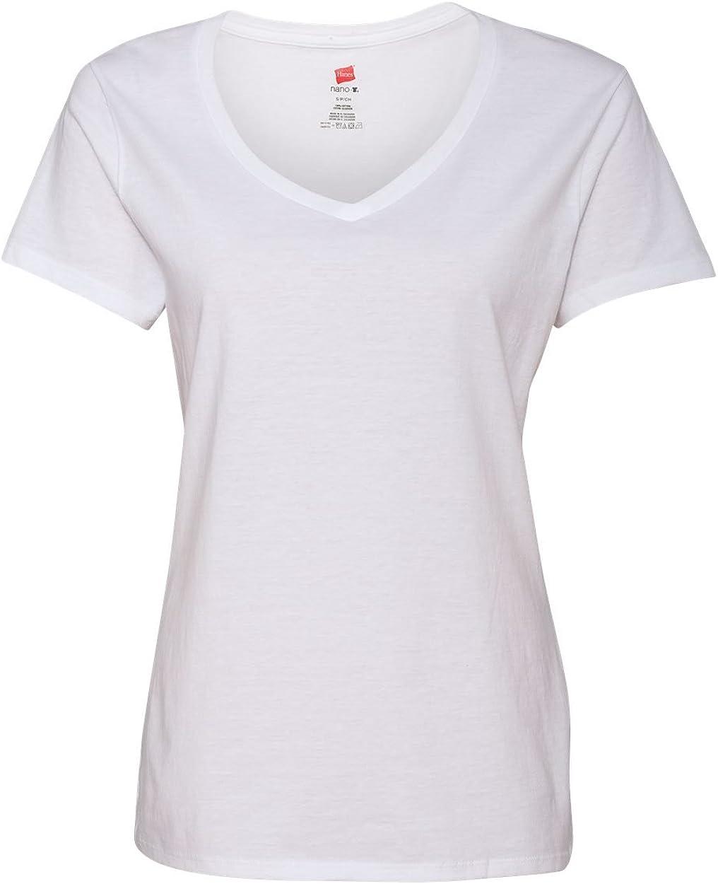 Hanes Womens 4.5 oz. 100% Ringspun Cotton Nano-T V-Neck T-Shirt(S04V)