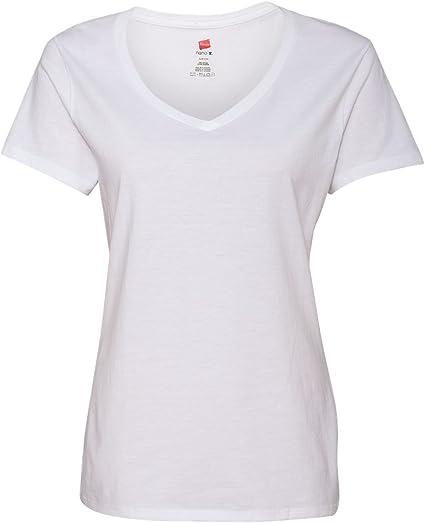 Hanes Womens 4.5 oz. 100% Ringspun Cotton Nano-T V-Neck T-Shirt(S04V) white t shirt for women