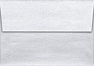 LUXPaper A1 Invitation Envelope in 80 lb Silver Metallic for 3 1/2 x 4 7/8 Cards, Printable Envelopes for Invitations, with Peel and Press, 50 Pack, Envelope Size 3 5/8 x 5 1/8 (Silver)