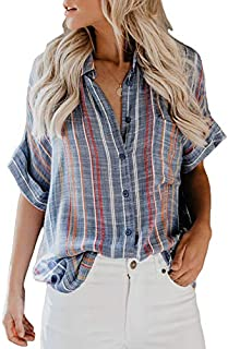 Astylish Women's V Neck Stripes Roll up Sleeve Button Down Blouses Tops