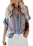 HOTAPEI Womens Plus Size Summer Casual V Neck Striped Cuffed Sleeve Button Down Collar Chiffon Blouses for...