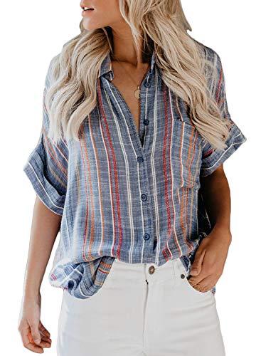 HOTAPEI Womens Blouses Short Sleeve Summer Casual V Neck Striped Cuffed Sleeve Button Down Collar Chiffon Shirts Work Tops Medium Blue