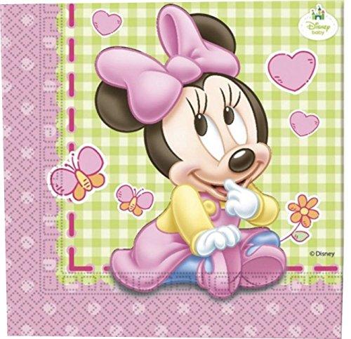 Anniversaire de bébé - 20 serviettes Minnie Bébé 2 plis 33x33cm