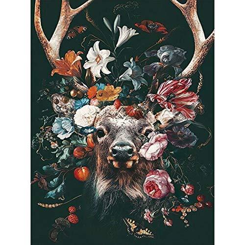 Lazodaer - Kit de pintura de diamantes de imitación para adultos y principiantes, para decoración del hogar, ciervos, alces en las flores, 30 x 39,9 cm