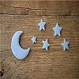LINGZIA Accesorios de fotografía para recién Nacidos Hechos a Mano, Estrella Luna DIY joyería Hecha a Mano para bebés decoración de Fiesta en casa 5 unids/Set Azul Claro