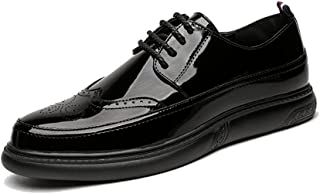 Men's Business Oxford Superficial Classic Hearty Coloured Pointed Toe Breathable Brogue Shoes casual shoes (Color : Patent Black, Size : 41 EU)