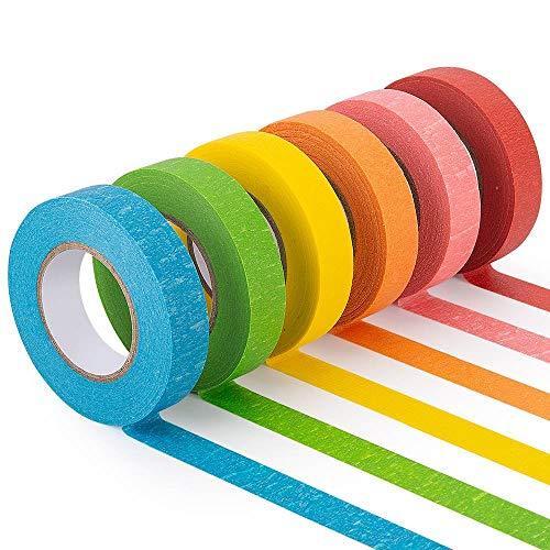 Colored Masking Tape, 6 Rolls of 21.87 Yards×0.59 Inch Crafts Labeling Paper Tape, Colorful Marking Painters Tape for DIY Art Supplies, Home Decoration, Office or Teaching Supplies, Classification.