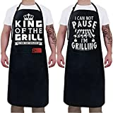 2 Pack -King of The Grill- Funny Aprons for Men Kitchen Chef Camping Grilling Accessories Dad Friends Birthday Gift for Thanksgiving Black Waterproof With Pockets Grills Outdoor Cooking BBQ Apron