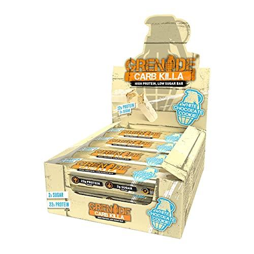 Grenade Carb Killa Barretta Proteica a Basso Contenuto di Carboidrati, 12 x 60g, White Chocolate Cookie