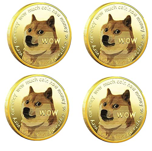 FENGCHUANG 4 Piezas de Dogecoin Dogecoin Moneda Conmemorativa Moneda Coleccionable Moneda Virtual Chapada en Oro/Plata con Funda Protectora Acrílica Coleccionistas