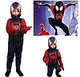 pequeños monelli traje Spiderman Negro Niño Un Nuevo Universo Vestido hombre...