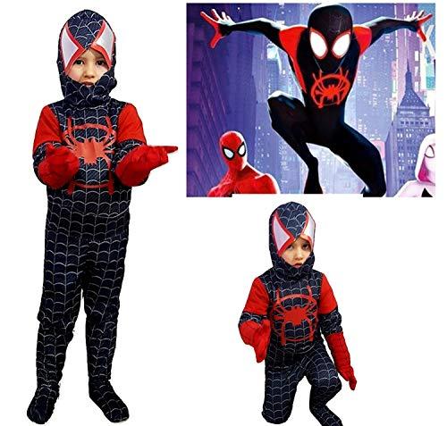 PICCOLI MONELLI Costume Spiderman Nero Bambino Un Nuovo Universo 8-10 Anni Vestito Uomo Ragno Bimbo di Carnevale Nuovo e ultimo Modello Film Homecoming 2019