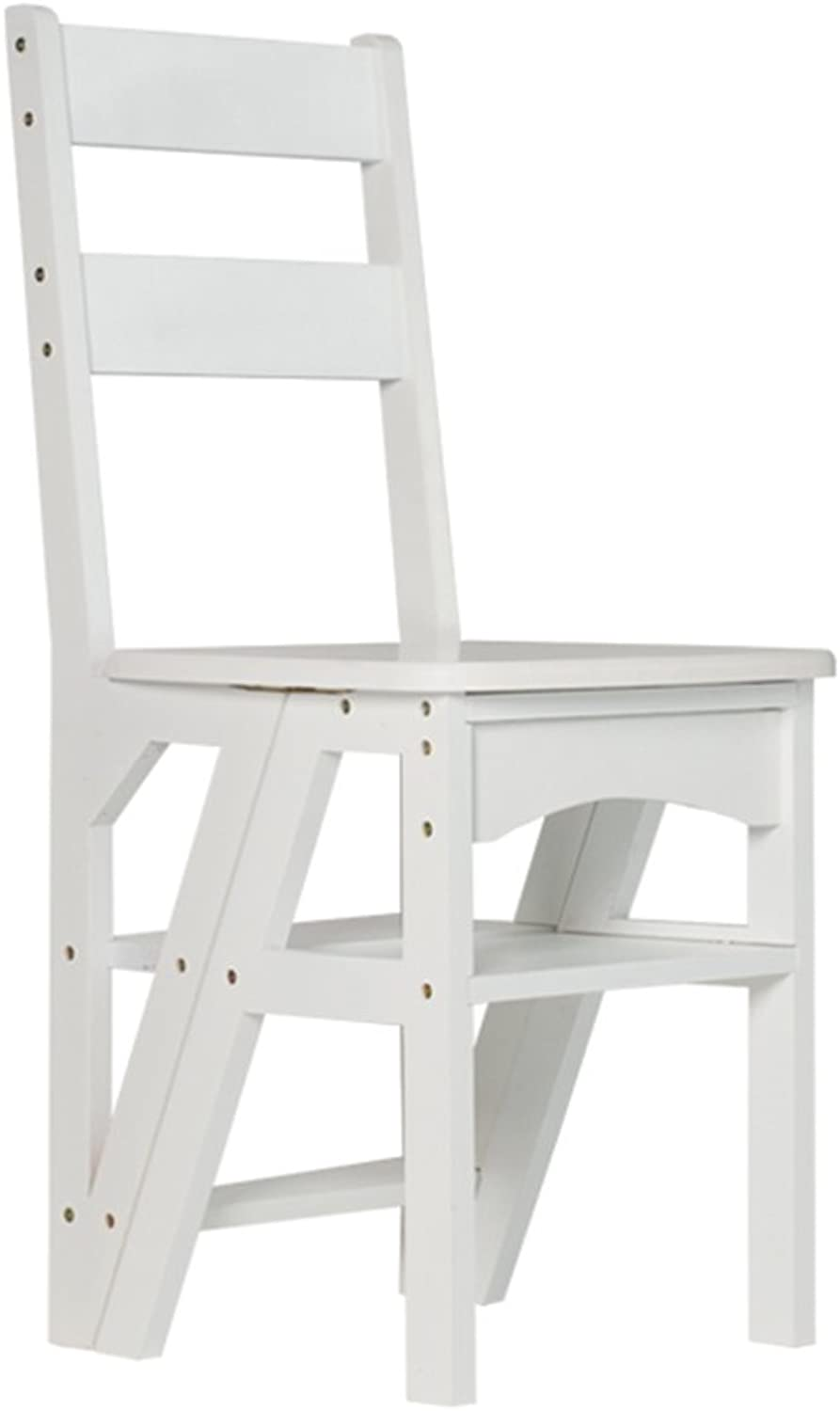 QFFL tideng Step Stool Folding Dual-use Solid Wood Ladder Stool Multifunctional Indoor Four-Step Ladder Chair Home Stair Stool Mobile Step Stool 2 color Optional (color   White)