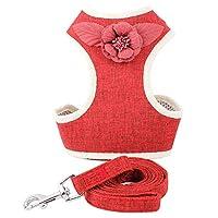 ペットリーシュベストタイプペットリーシュ犬の胸のハーネスドレス胸バック犬の供給-Red-L