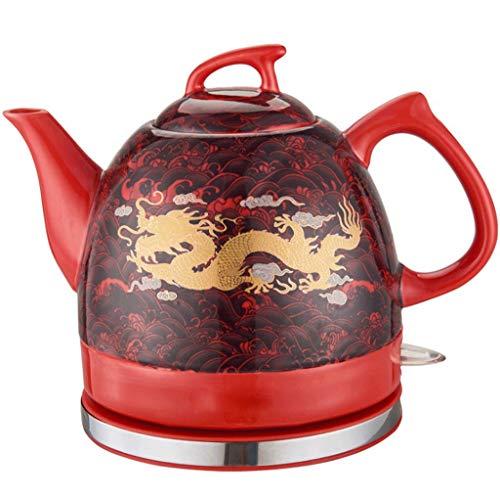 Bouilloire électrique Dragon doré émaillé rouge Base amovible protection cuisson sèche 1,2 L rouge
