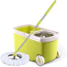 New Upgraded Stainless Steel Deluxe 360 Spin Mop & Bucket Floor Cleaning System Included,Stainless Steel Rotating Automati...