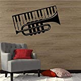 Etiqueta De La Pared De Pvc Extraíble Pequeño Piano Instrumento Musical Etiqueta De La Decoración De La Música Diseño Moderno Decoración De La Pared 58 X 36 Cm