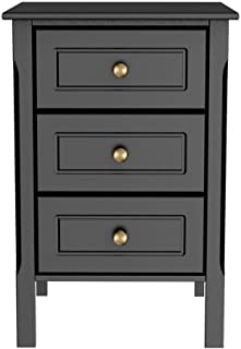 Yaheetech 3-Drawer Black Nightstand with Solid Pine Wood Legs Bedroom Furniture, 15.7in L x 15.7in W x 23.6in H