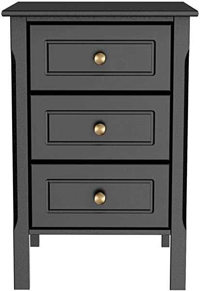 Yaheetech 3 Drawer Black Nightstand With Solid Pine Wood Legs Bedroom Furniture 15 7 L X 15 7 W X 23 6 H