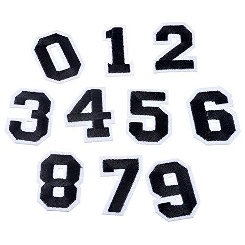 XUNHUI 0 bis 9 Bestickt Aufnäher Bügelbild Eine Applikations-Zahl Eisen auf Flecken zum Aufnähen Aufbügeln auf Bastelarbeiten Kleidung Jeans Accessoires 10 Stück