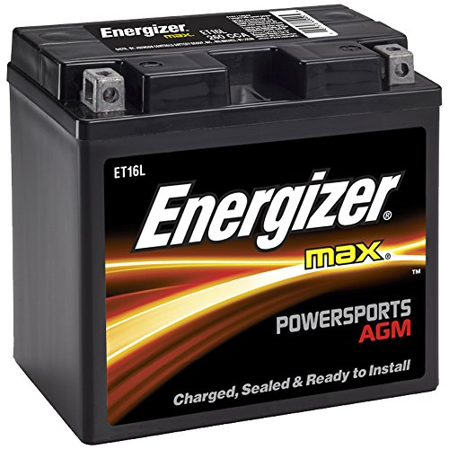 Energizer ET16L AGM Motorcycle and ATV 12V Battery, 260 Cold Cranking Amps and 19 Ahr. Replaces: CTX19L-BS, T16L and others.