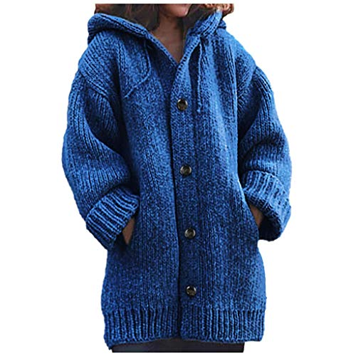 iYBWZH Women's Hooded Knit Cardigans Button Cable Sweater Coats Loose Winter Long Sleeve Sweater with Pocket Navy