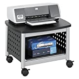 Safco Products Scoot Underdesk Printer Stand , Black, Powder Coat Finish, Swivel Wheels for Mobility